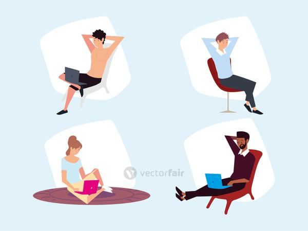 set of people sitting with laptop working