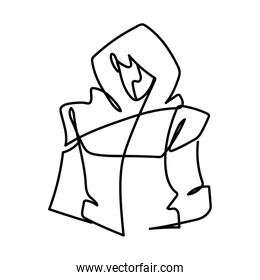 man wearing fashion jacket model continuous line, isolated design