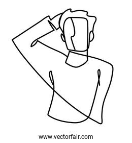 man with hand in head portrait continuous line, isolated design