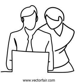 man and woman working with laptop, continuous line style