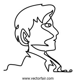 young man profile head continuous line style