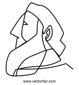senior man with beard profile, continuous line style