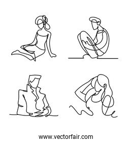 men and women characters icons continuous line style