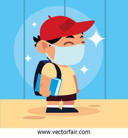 back to school for new normal, student cute boy with mask book and backpack