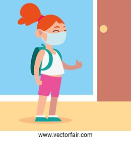 back to school for new normal, cute girl student with bag and medical mask