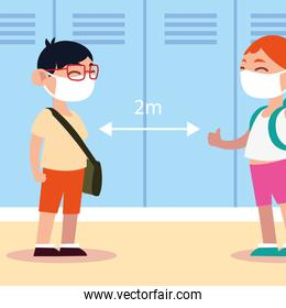 back to school for new normal, student boy and girl with masks and keep social distance