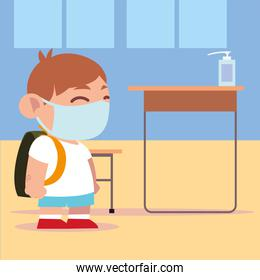 back to school, student boy in classroom with dispenser hands sanitizer