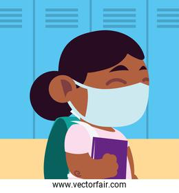 back to school for new normal, little girl student with protective mask and book