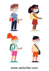 back to school for new normal, teenage students with medical masks and backpacks cartoon