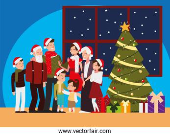 christmas people, family together with tree and gifts celebrating season party