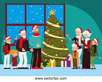 christmas people, big family with tree lights decoration celebrating season party