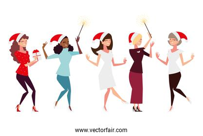christmas people, group women with santa hat gift and fireworks celebrating