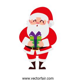 christmas santa claus with green gift cartoon character