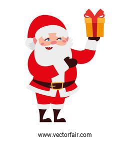 christmas happy santa claus with surprise box cartoon character