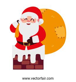 christmas santa claus with gifts bag in the chimney cartoon character