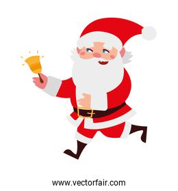 christmas santa claus with golden bell cartoon character