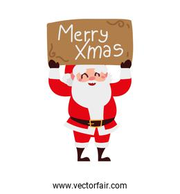christmas santa claus holding placard with text cartoon character