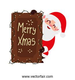 christmas santa claus with board lettering lights decoration cartoon