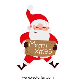christmas santa claus with lettering in board cartoon character