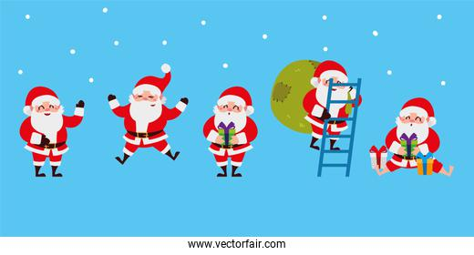 christmas santa claus set icons with ladder, gifts celebration