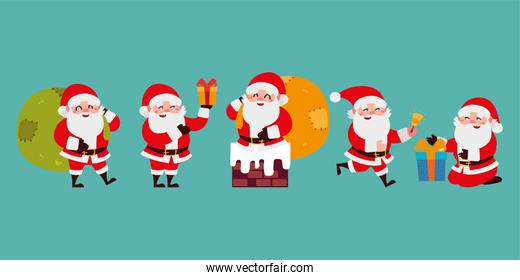 christmas santa claus cartoon character set icons over green background