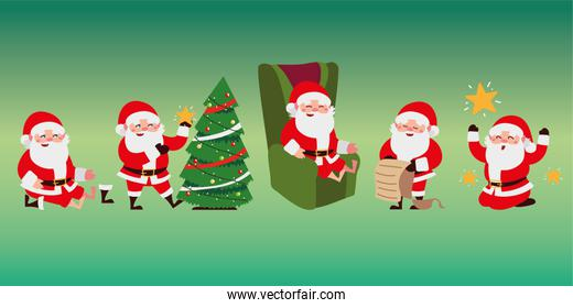 christmas santa claus cartoon different activities set icons