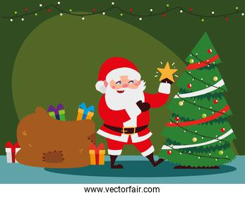 christmas santa claus decorating tree with star, gifts bag and lights