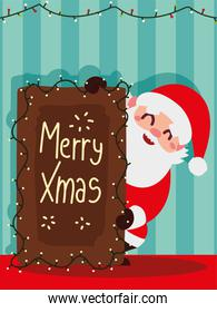 christmas santa claus with board lettering lights decoration striped background