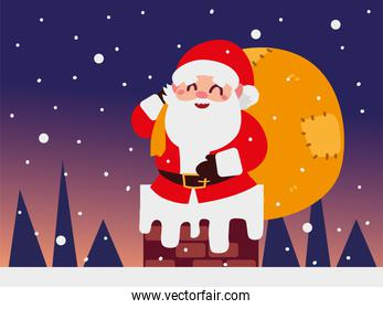 christmas santa claus with bag in the chimney night scenery