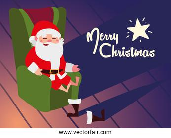 merry christmas, santa claus sitting on chair resting