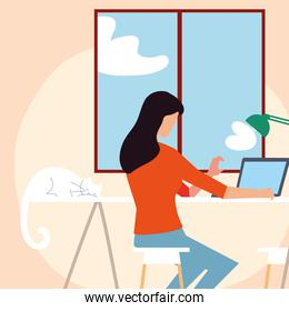 woman working with laptop in the room