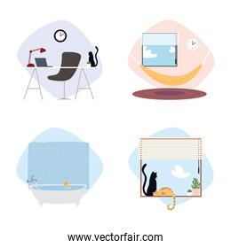 set of different spaces home room desk chair laptop window cats icons