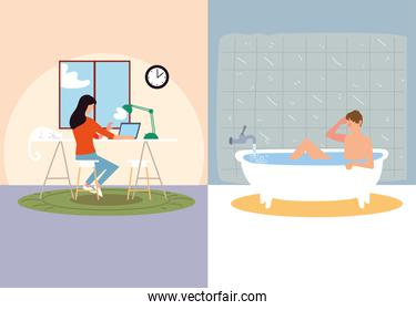 indoor activities, woman typing in laptop and man taking bath