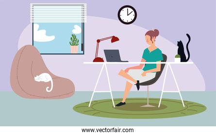woman in home with laptop desk workspace