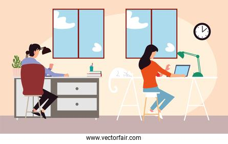girl and boy in home working or studying on laptop