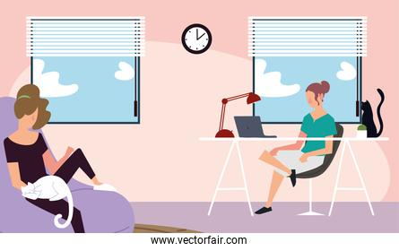 women in home, working with laptop and resting on chair