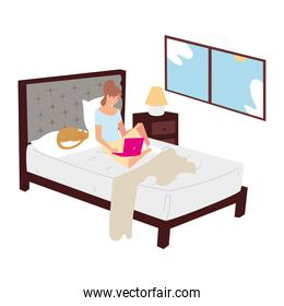 woman working with laptop in the bedroom home