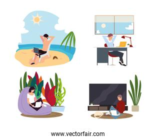 people working in different space, include beach, room and office