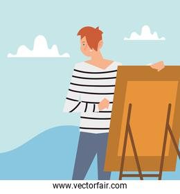 man with canvas painting outdoor activity