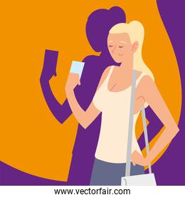 blonde woman with smartphone, image shadow style