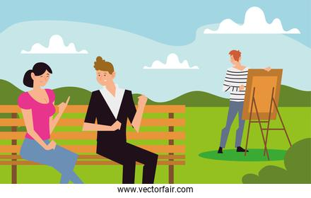 people outdoor activity, couple on bench and man painting