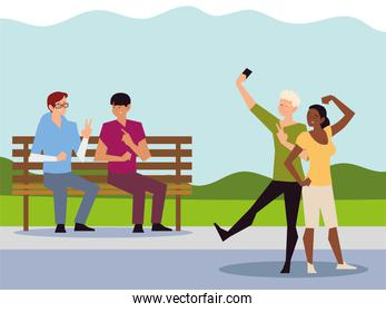 people outdoor activity, couple taking selfie and men sitting on bench park