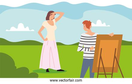 people outdoor activity, woman standing posing and man painting picture