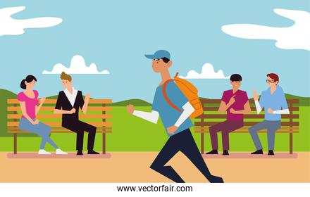 people outdoor activity, persons talking on bench park and man running