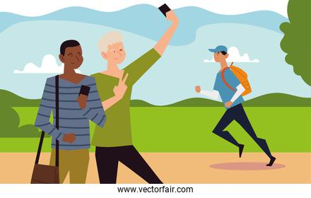 people outdoor activity, two boy taking selfie and man running in the park