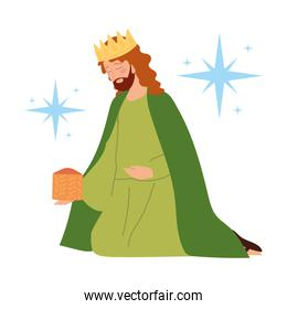 nativity, manger melchior wise king with gift cartoon