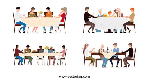 family dinner, parents, grandparents and children eating sitting at table, set