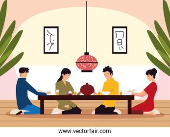 asian family dinner, parents daughter and son in the room