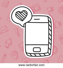 smartphone and speech bubble with heart icon, line style