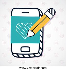 smartphone with pencil and heart shape, half line half color style